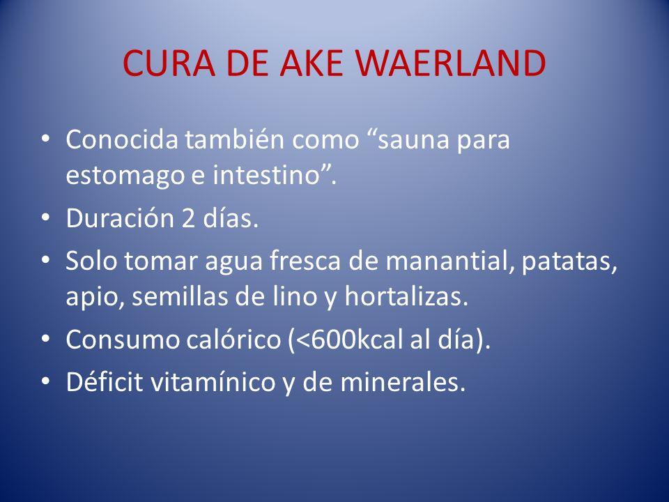 CURA DE AKE WAERLAND Conocida también como sauna para estomago e intestino . Duración 2 días.