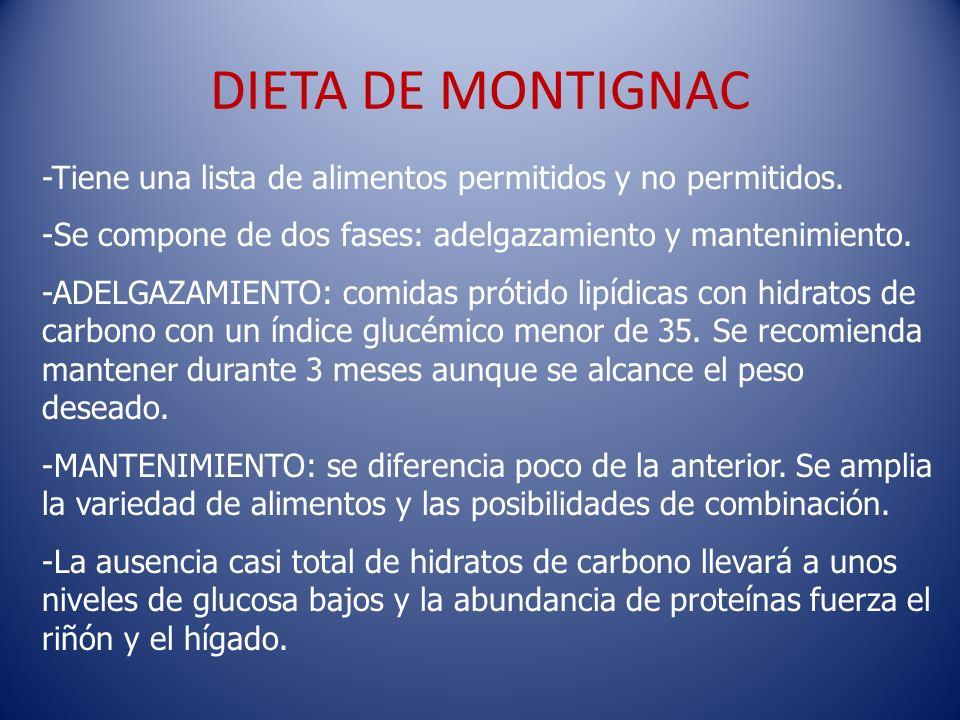 DIETA DE MONTIGNAC -Tiene una lista de alimentos permitidos y no permitidos. -Se compone de dos fases: adelgazamiento y mantenimiento.