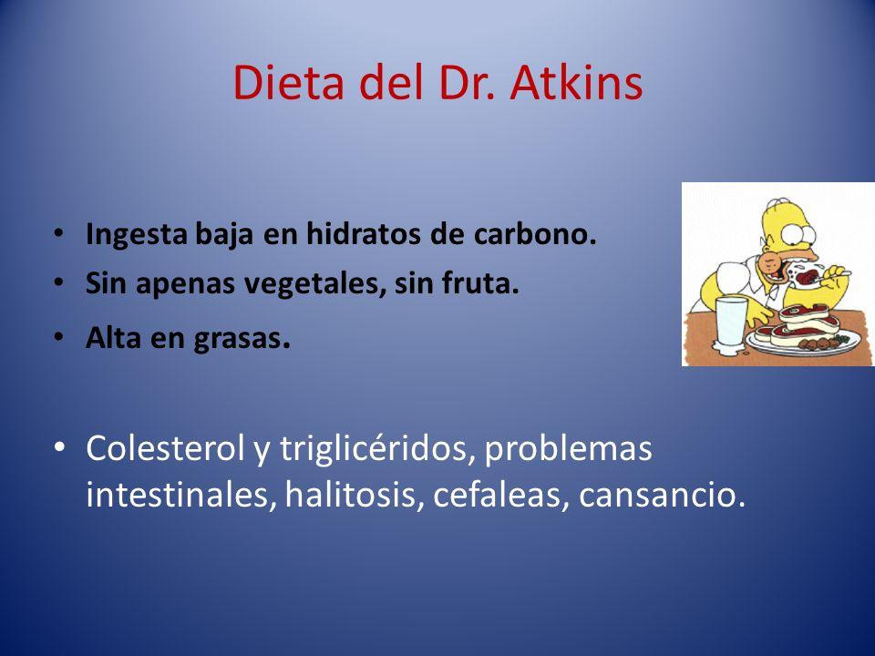 Dieta del Dr. Atkins Ingesta baja en hidratos de carbono. Sin apenas vegetales, sin fruta. Alta en grasas.