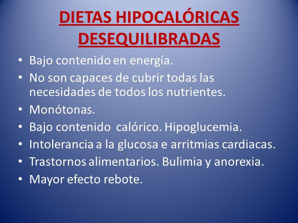 DIETAS HIPOCALÓRICAS DESEQUILIBRADAS