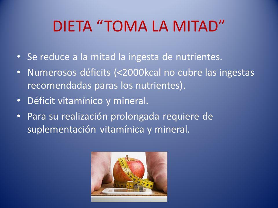DIETA TOMA LA MITAD Se reduce a la mitad la ingesta de nutrientes.