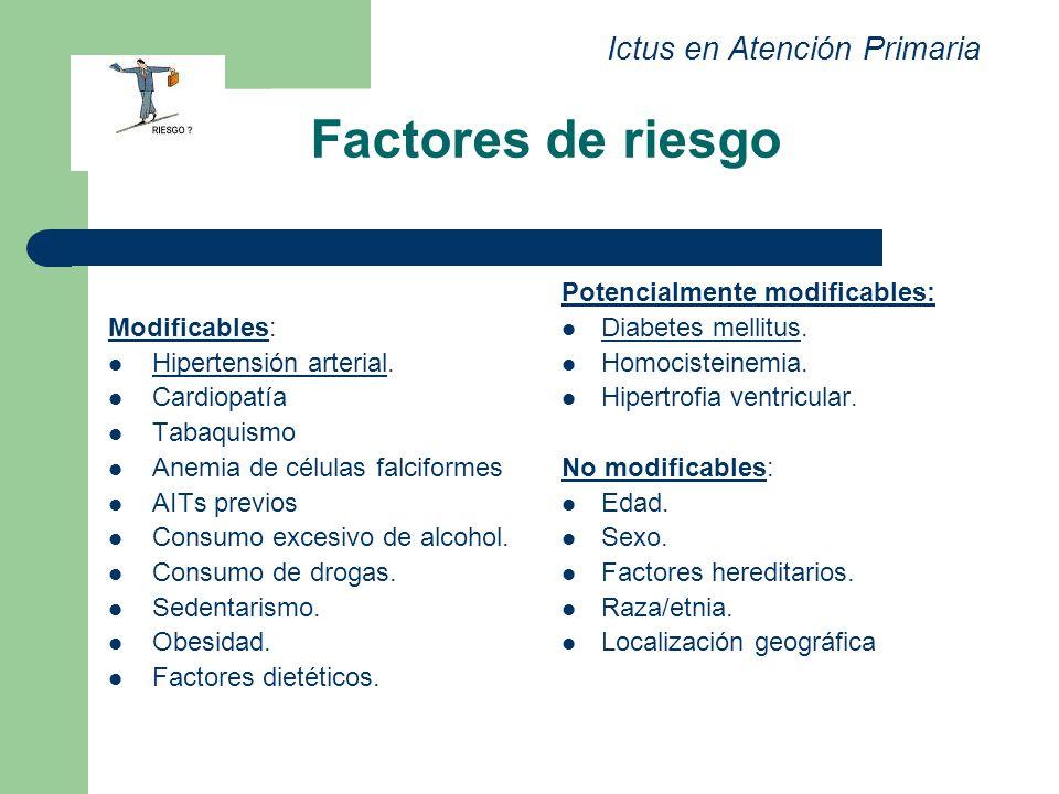 Factores de riesgo Ictus en Atención Primaria Modificables:
