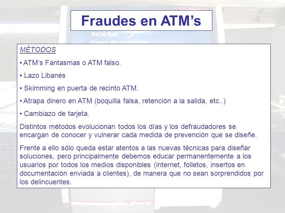 Fraudes en ATM's MÉTODOS ATM's Fantasmas o ATM falso. Lazo Libanés