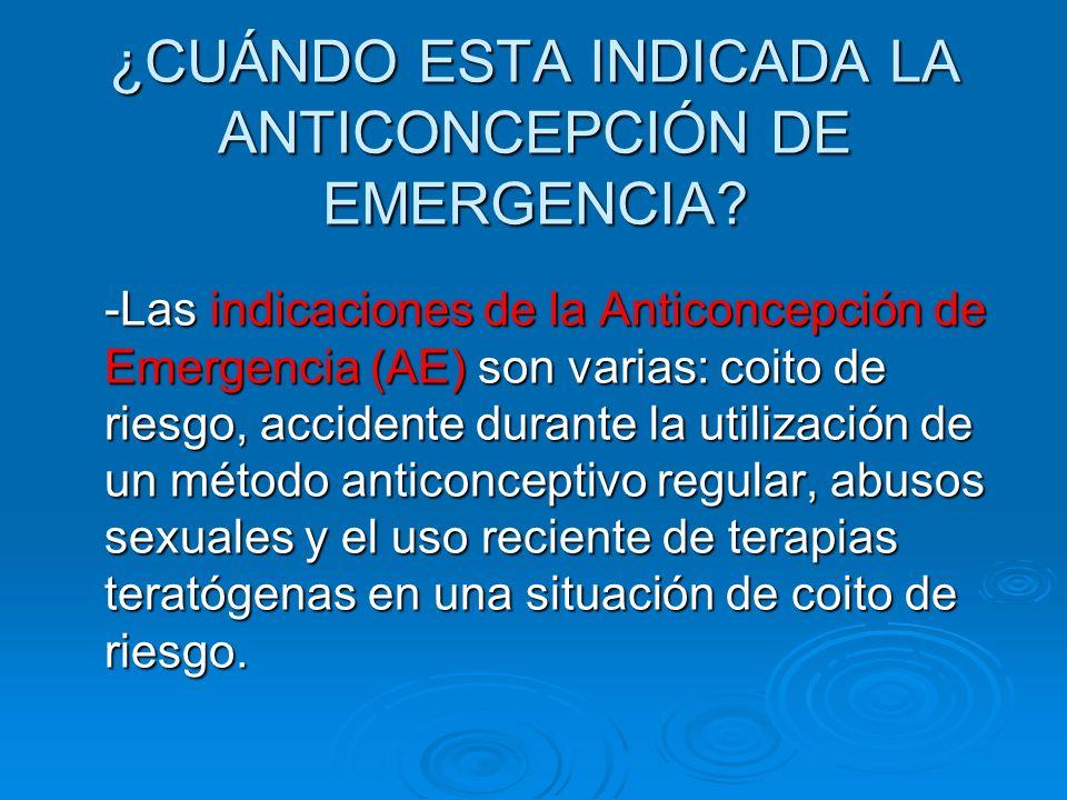 ¿CUÁNDO ESTA INDICADA LA ANTICONCEPCIÓN DE EMERGENCIA