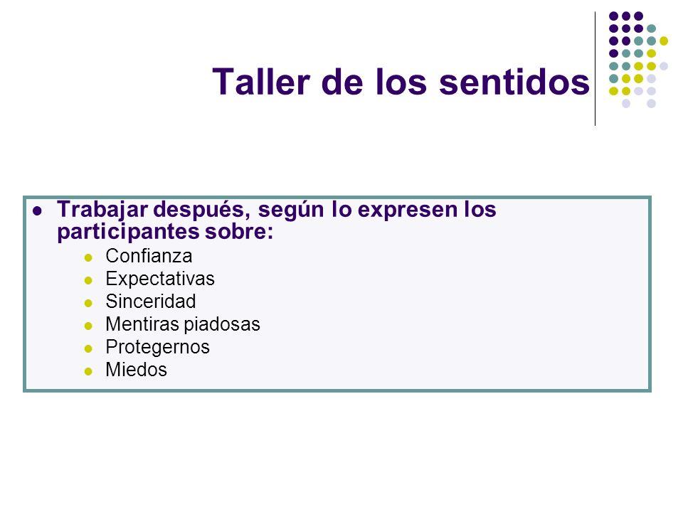 Taller de los sentidos Trabajar después, según lo expresen los participantes sobre: Confianza. Expectativas.