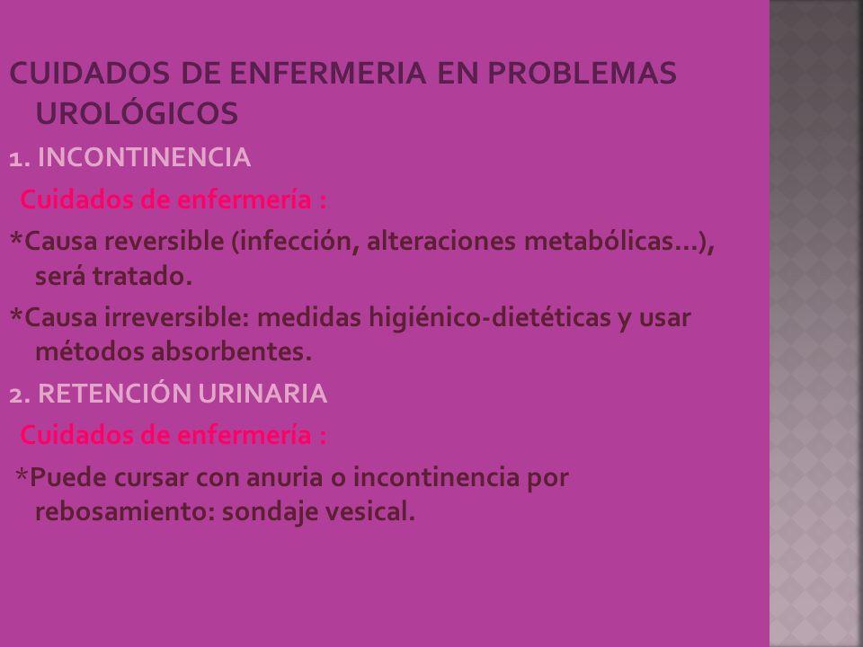 CUIDADOS DE ENFERMERIA EN PROBLEMAS UROLÓGICOS