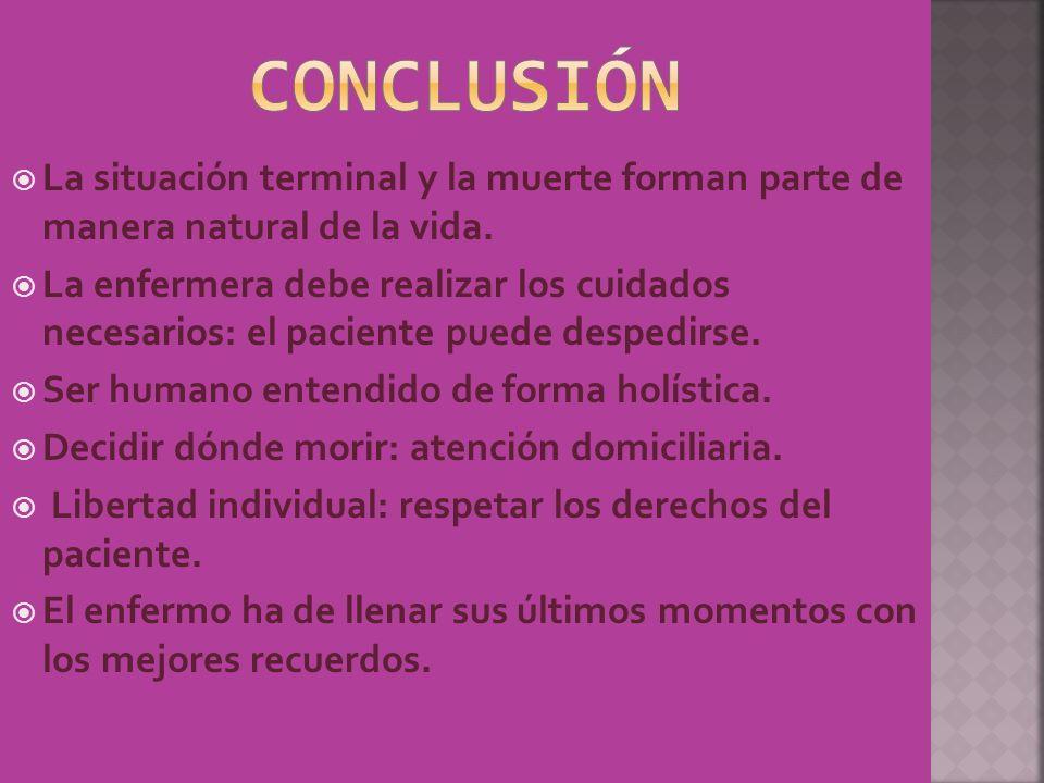conclusiónLa situación terminal y la muerte forman parte de manera natural de la vida.