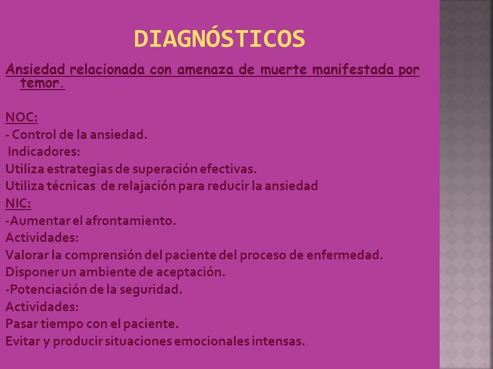 DIAGNÓSTICOS Ansiedad relacionada con amenaza de muerte manifestada por temor. NOC: - Control de la ansiedad.
