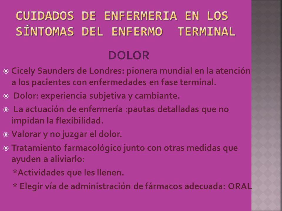 CUIDADOS DE ENFERMERIA EN LOS SÍNTOMAS DEL ENFERMO TERMINAL