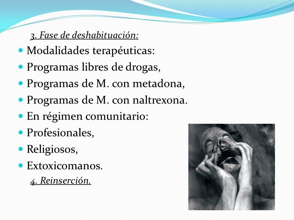 Modalidades terapéuticas: Programas libres de drogas,
