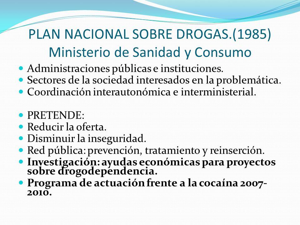 PLAN NACIONAL SOBRE DROGAS.(1985) Ministerio de Sanidad y Consumo