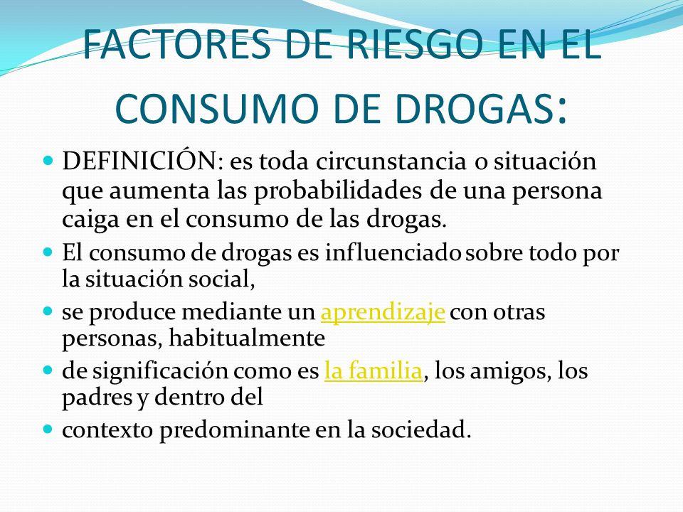 FACTORES DE RIESGO EN EL CONSUMO DE DROGAS: