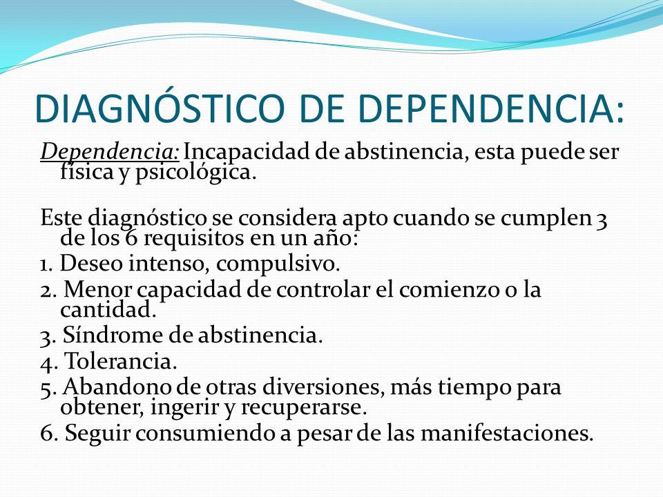 DIAGNÓSTICO DE DEPENDENCIA: