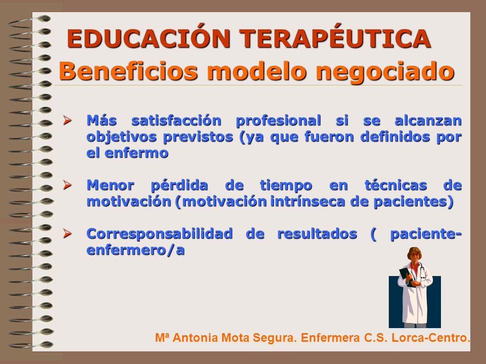 EDUCACIÓN TERAPÉUTICA Beneficios modelo negociado