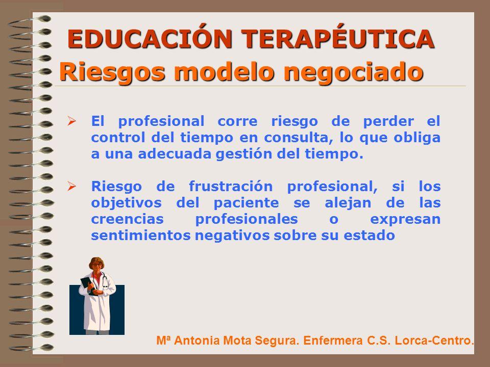 EDUCACIÓN TERAPÉUTICA Riesgos modelo negociado