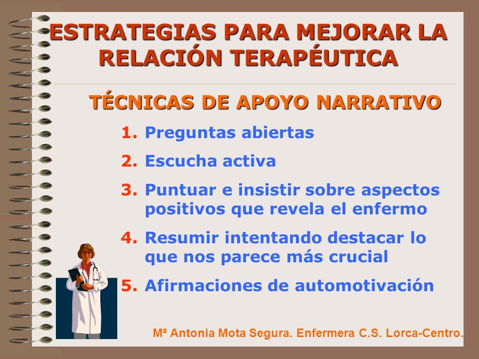 ESTRATEGIAS PARA MEJORAR LA RELACIÓN TERAPÉUTICA