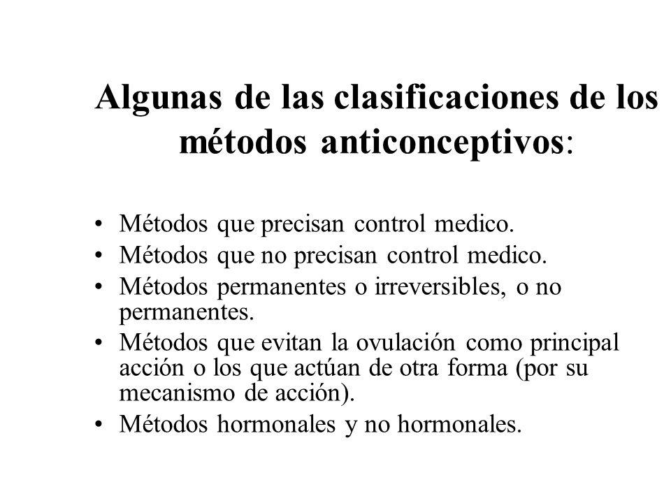 Algunas de las clasificaciones de los métodos anticonceptivos: