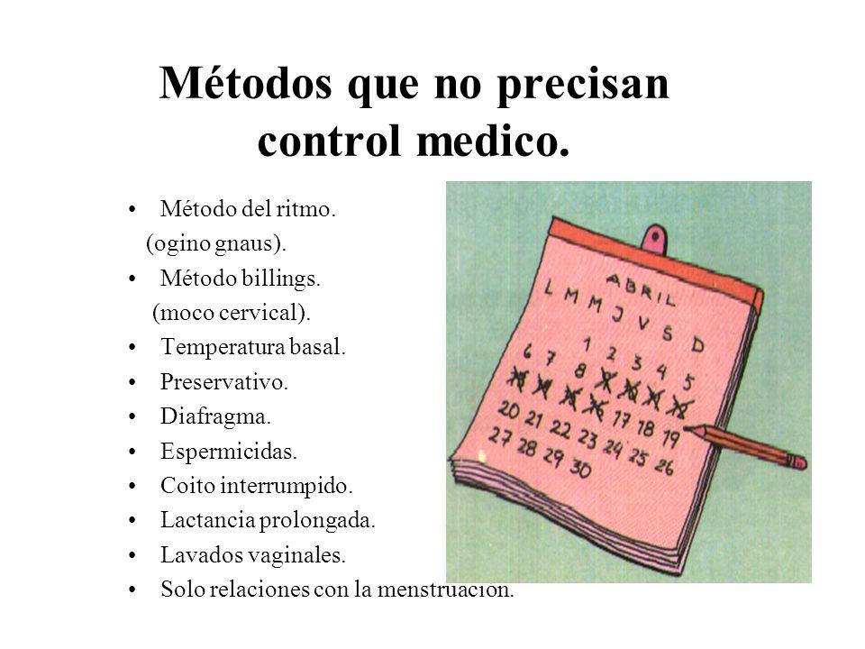 Métodos que no precisan control medico.