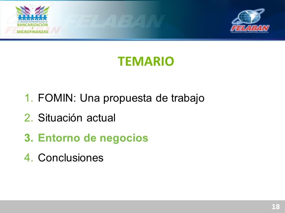 TEMARIO FOMIN: Una propuesta de trabajo Situación actual