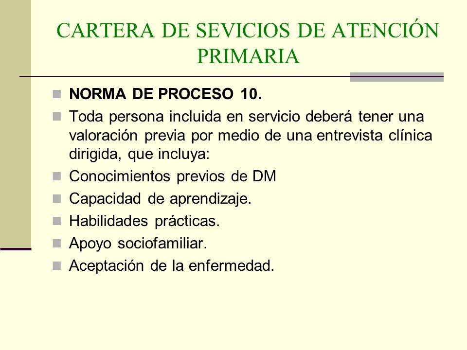 CARTERA DE SEVICIOS DE ATENCIÓN PRIMARIA