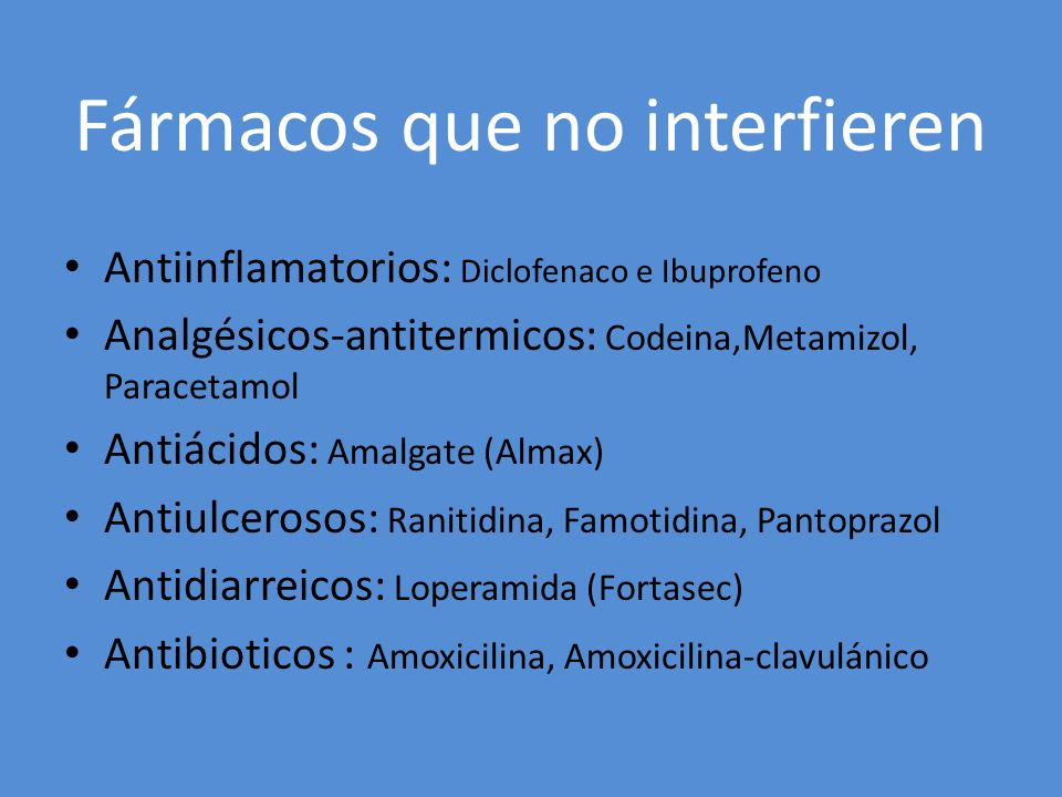 Fármacos que no interfieren