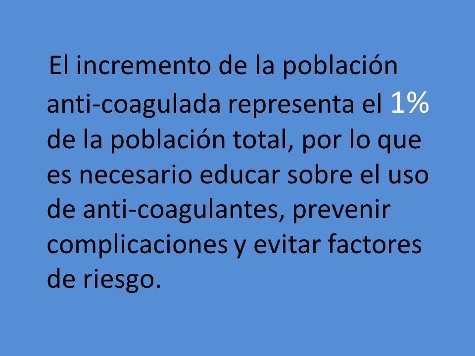 El incremento de la población anti-coagulada representa el 1% de la población total, por lo que es necesario educar sobre el uso de anti-coagulantes, prevenir complicaciones y evitar factores de riesgo.