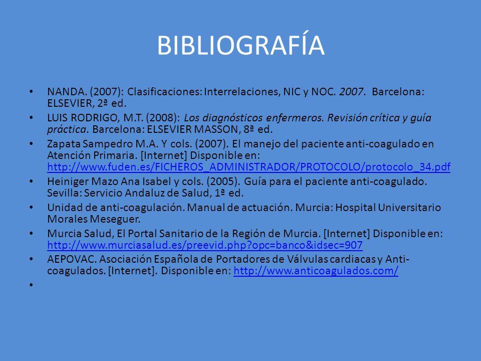 BIBLIOGRAFÍA NANDA. (2007): Clasificaciones: Interrelaciones, NIC y NOC. 2007. Barcelona: ELSEVIER, 2ª ed.