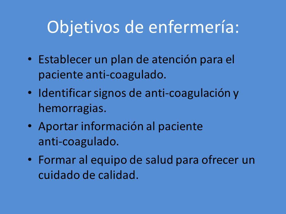 Objetivos de enfermería: