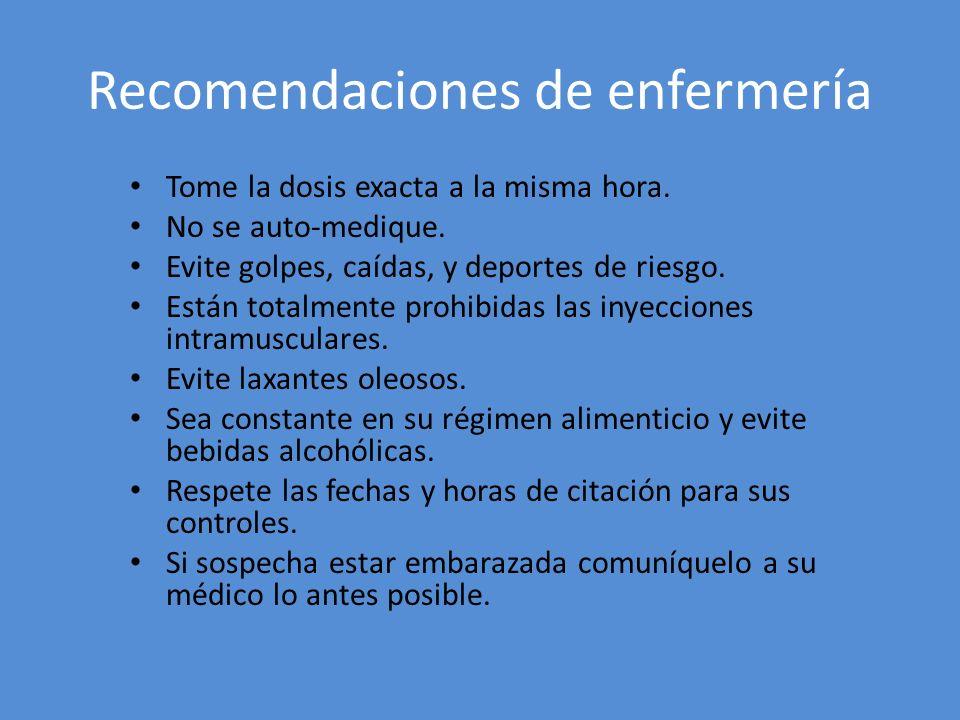 Recomendaciones de enfermería