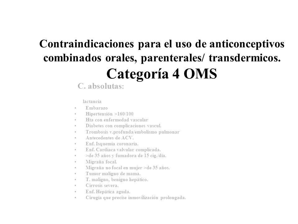 Contraindicaciones para el uso de anticonceptivos combinados orales, parenterales/ transdermicos. Categoría 4 OMS
