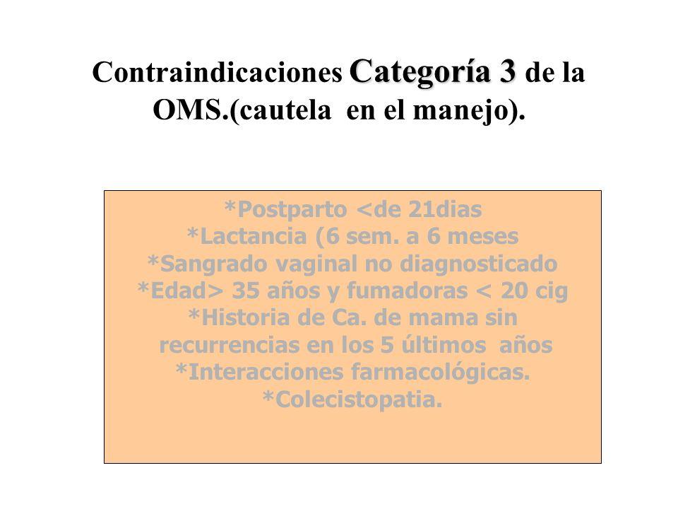 Contraindicaciones Categoría 3 de la OMS.(cautela en el manejo).