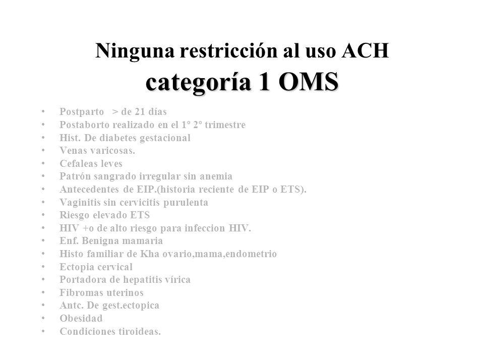 Ninguna restricción al uso ACH categoría 1 OMS