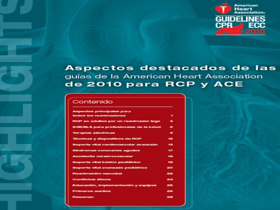 El 18 de Octubre se publicaron las traducciones de las nuevas guias en RCP Y asistencia cardiovascular de emergencia de la AHA