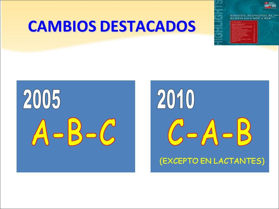 CAMBIOS DESTACADOS 2005 2010 A-B-C C-A-B (EXCEPTO EN LACTANTES)