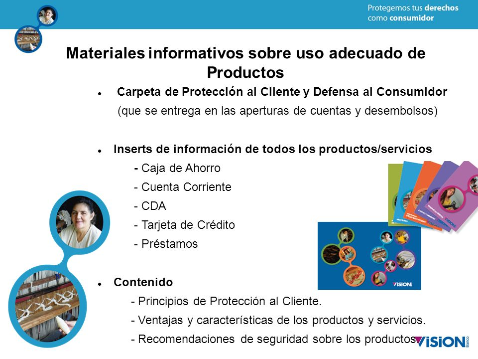 Materiales informativos sobre uso adecuado de Productos