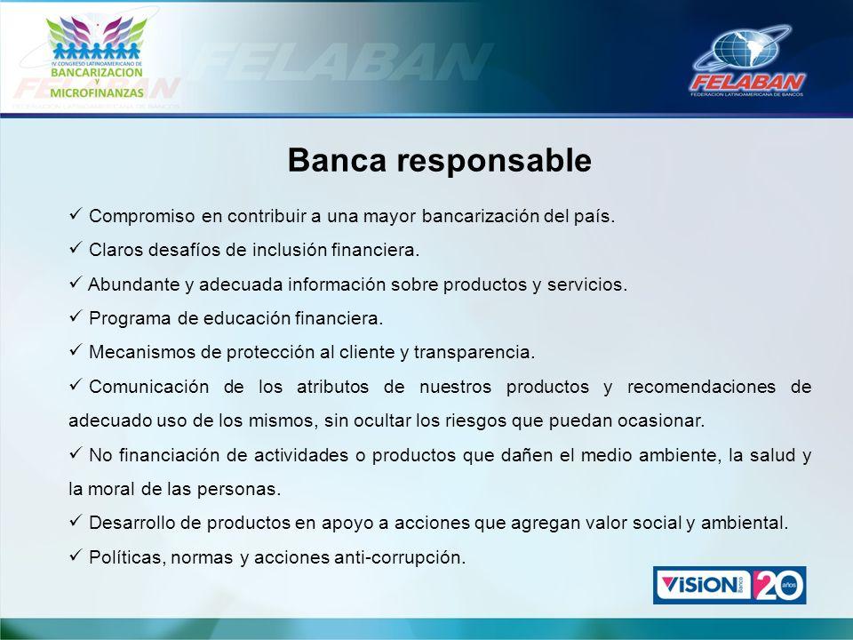 Banca responsable Compromiso en contribuir a una mayor bancarización del país. Claros desafíos de inclusión financiera.