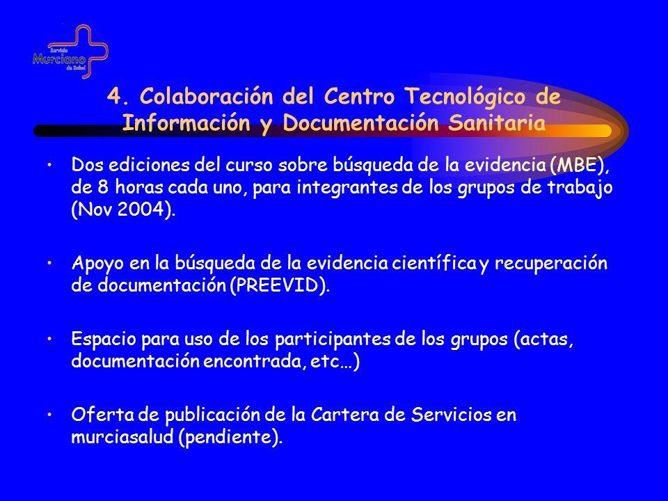 4. Colaboración del Centro Tecnológico de Información y Documentación Sanitaria