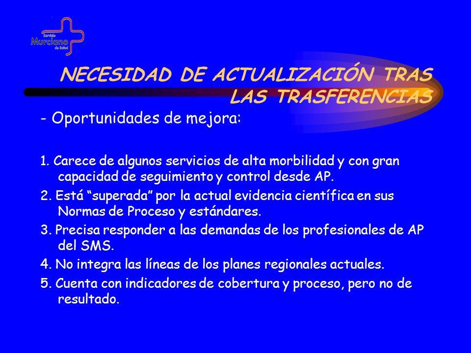 NECESIDAD DE ACTUALIZACIÓN TRAS LAS TRASFERENCIAS