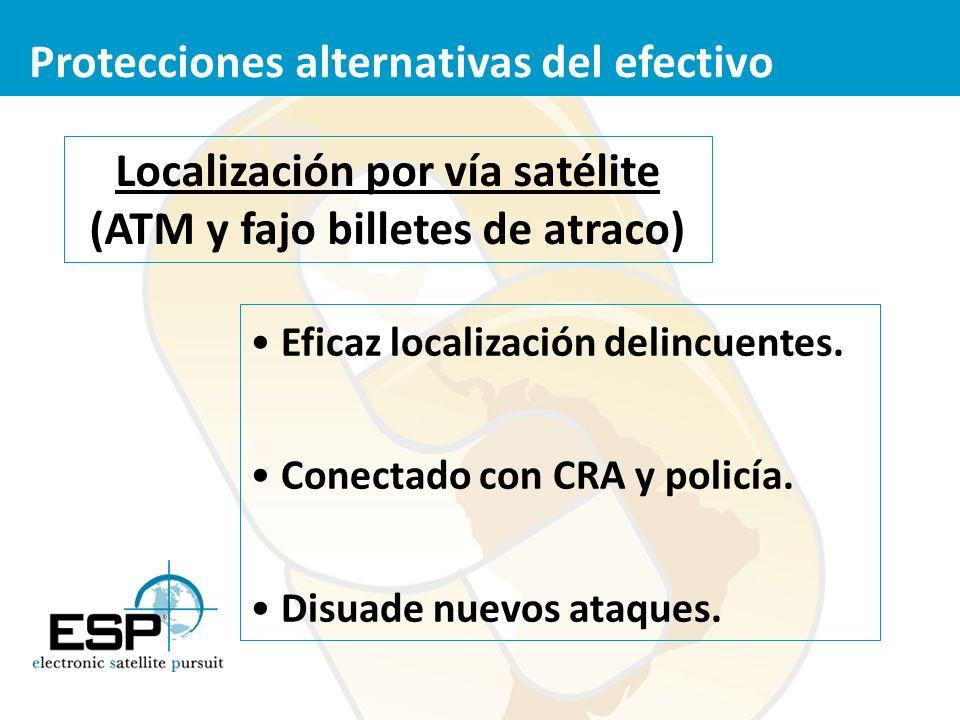 Localización por vía satélite (ATM y fajo billetes de atraco)