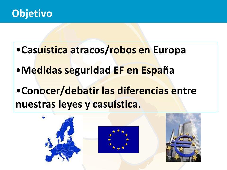 Objetivo Casuística atracos/robos en Europa. Medidas seguridad EF en España.