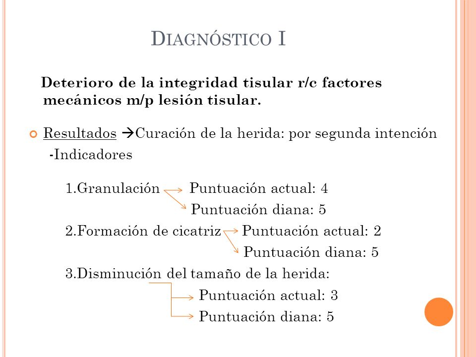 Diagnóstico I Deterioro de la integridad tisular r/c factores mecánicos m/p lesión tisular.