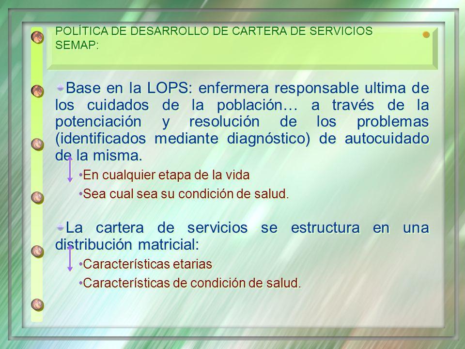 La cartera de servicios se estructura en una distribución matricial: