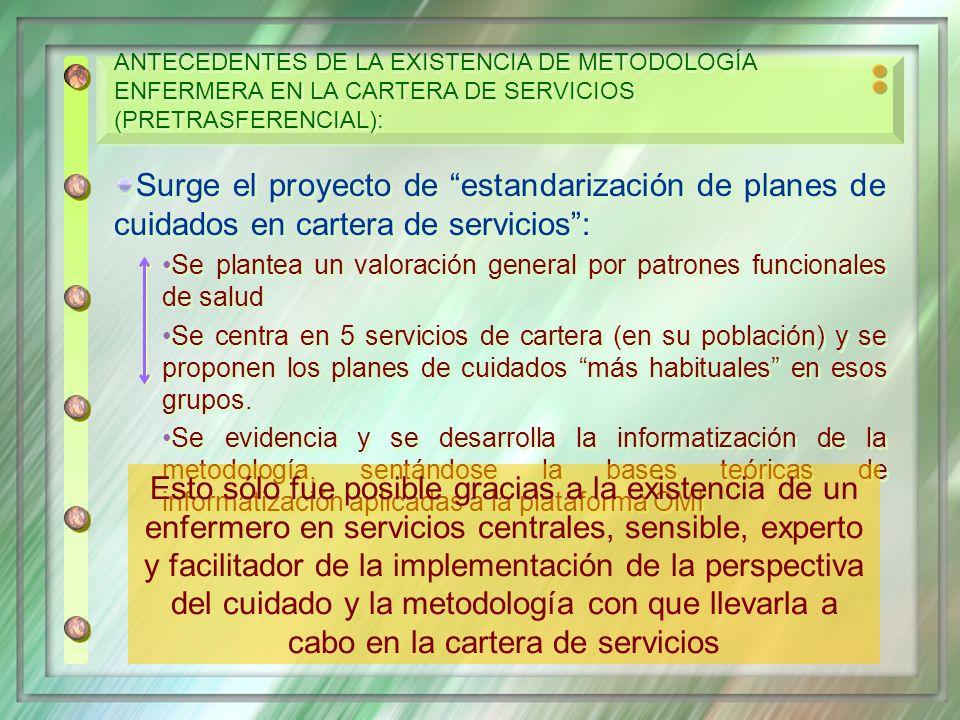 ANTECEDENTES DE LA EXISTENCIA DE METODOLOGÍA ENFERMERA EN LA CARTERA DE SERVICIOS (PRETRASFERENCIAL):