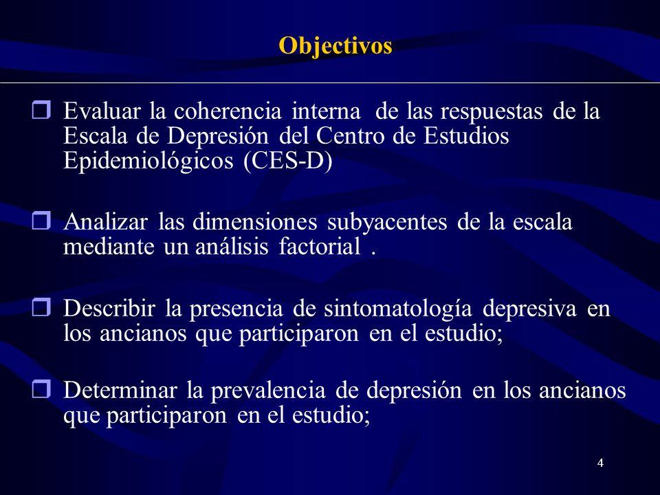 24-03-2017 Objectivos. Evaluar la coherencia interna de las respuestas de la Escala de Depresión del Centro de Estudios Epidemiológicos (CES-D)