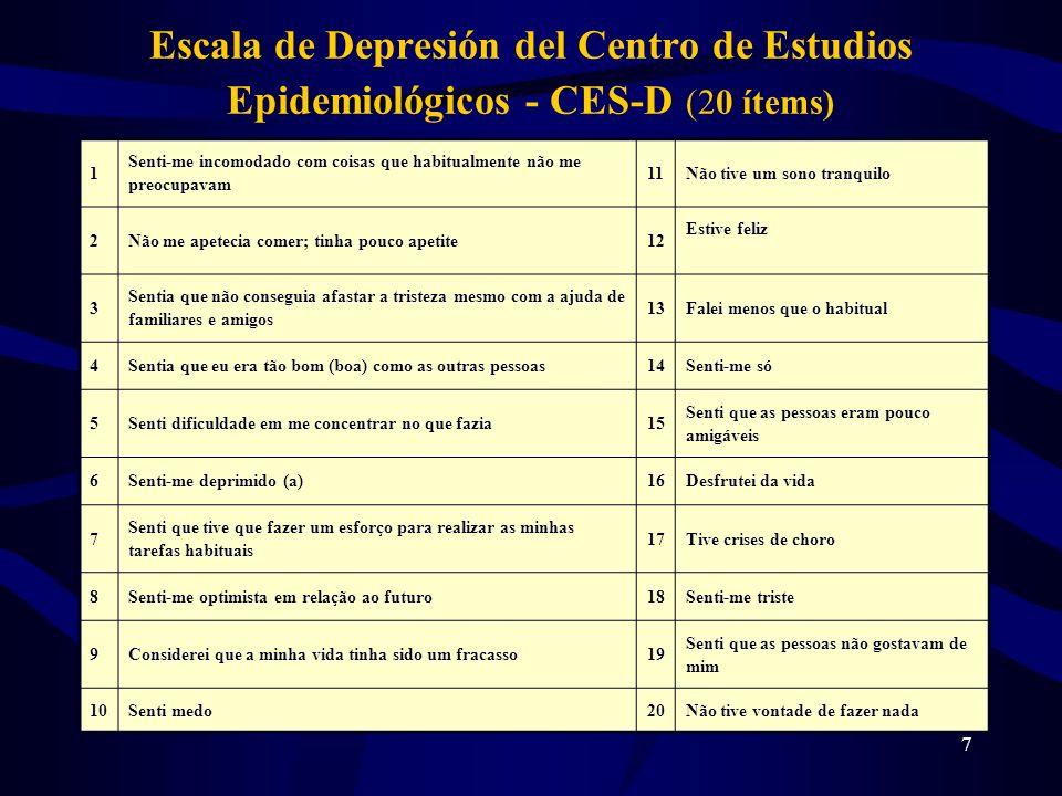 Escala de Depresión del Centro de Estudios Epidemiológicos - CES-D (20 ítems)