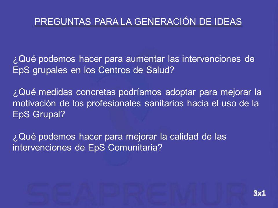 PREGUNTAS PARA LA GENERACIÓN DE IDEAS