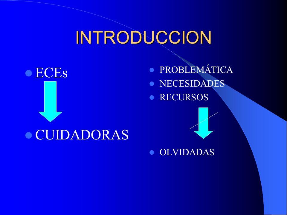 INTRODUCCION ECEs CUIDADORAS PROBLEMÁTICA NECESIDADES RECURSOS