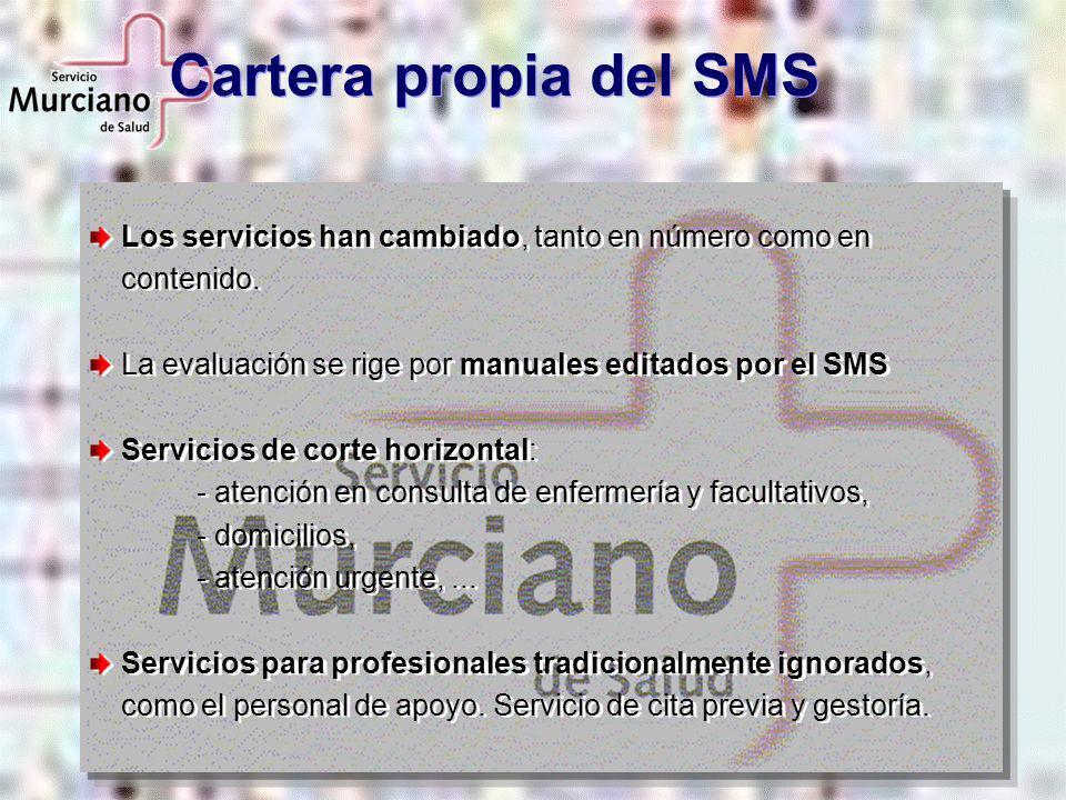 Cartera propia del SMS Los servicios han cambiado, tanto en número como en contenido. La evaluación se rige por manuales editados por el SMS.