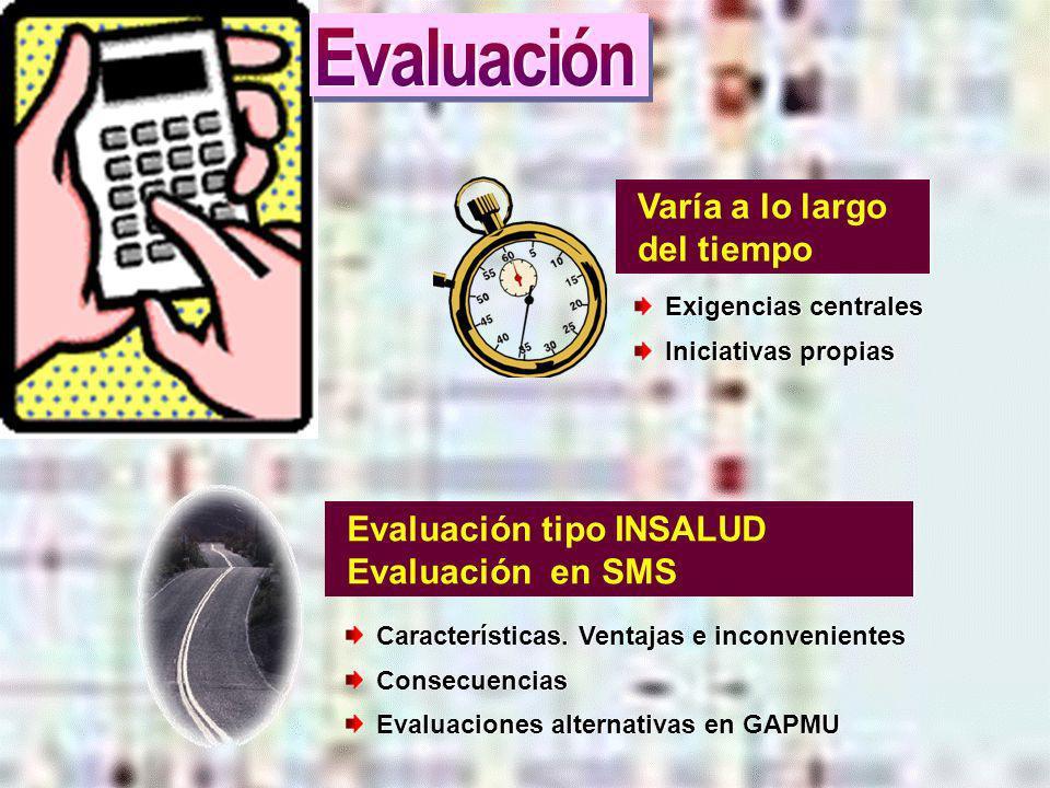 Evaluación Varía a lo largo del tiempo Evaluación tipo INSALUD