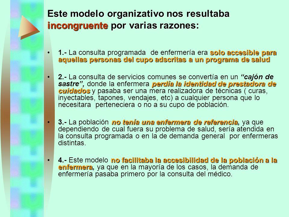 Este modelo organizativo nos resultaba incongruente por varias razones: